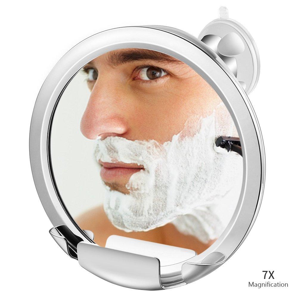 Jerrybox Espejo de Ducha Anti Niebla con Soporte para Rasuradora Incorporado Espejo para Afeitado de Ba/ño Anti Niebla con Potente Fijaci/ón de Ventosa