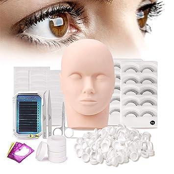 1f808ec3601 Pro 10pcs Mannequin Head Eyelash Lash Extension Supplies - False Eyelashes  Extension Practice Exercise Set -