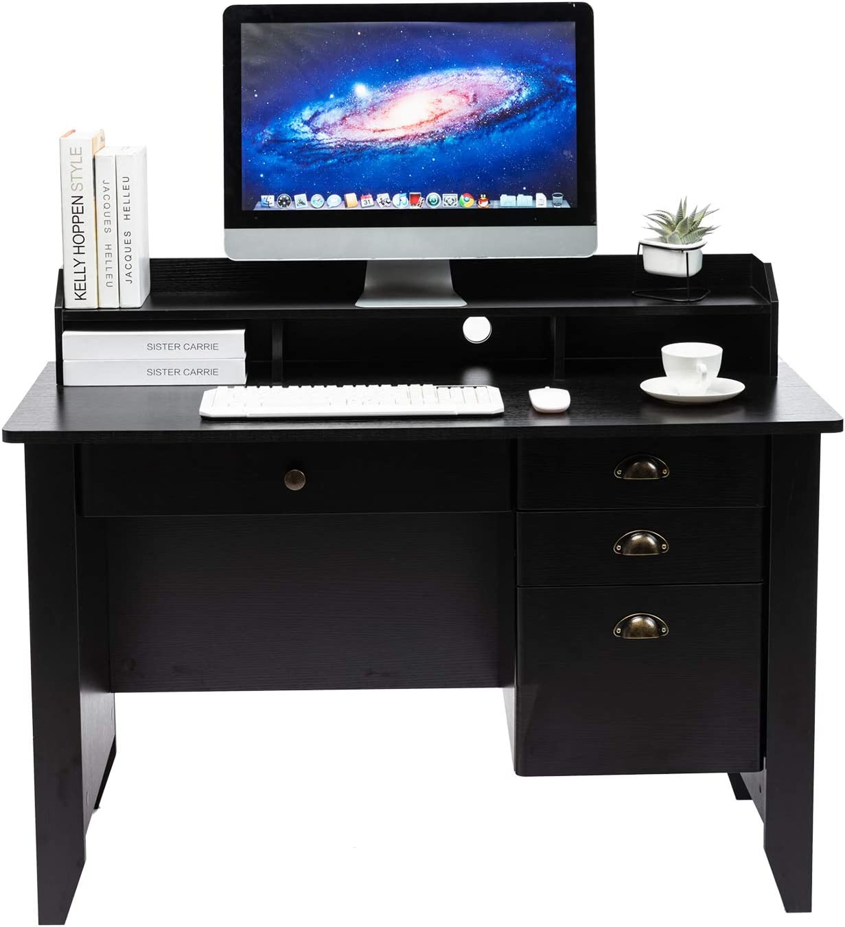 AUXSOUL Computer Desk with 4 Drawers and Hutch Shelf - Classical Home Office Desk - Spacious Student Writing Desk - Vintage Style Study Table, Workbench(Black)