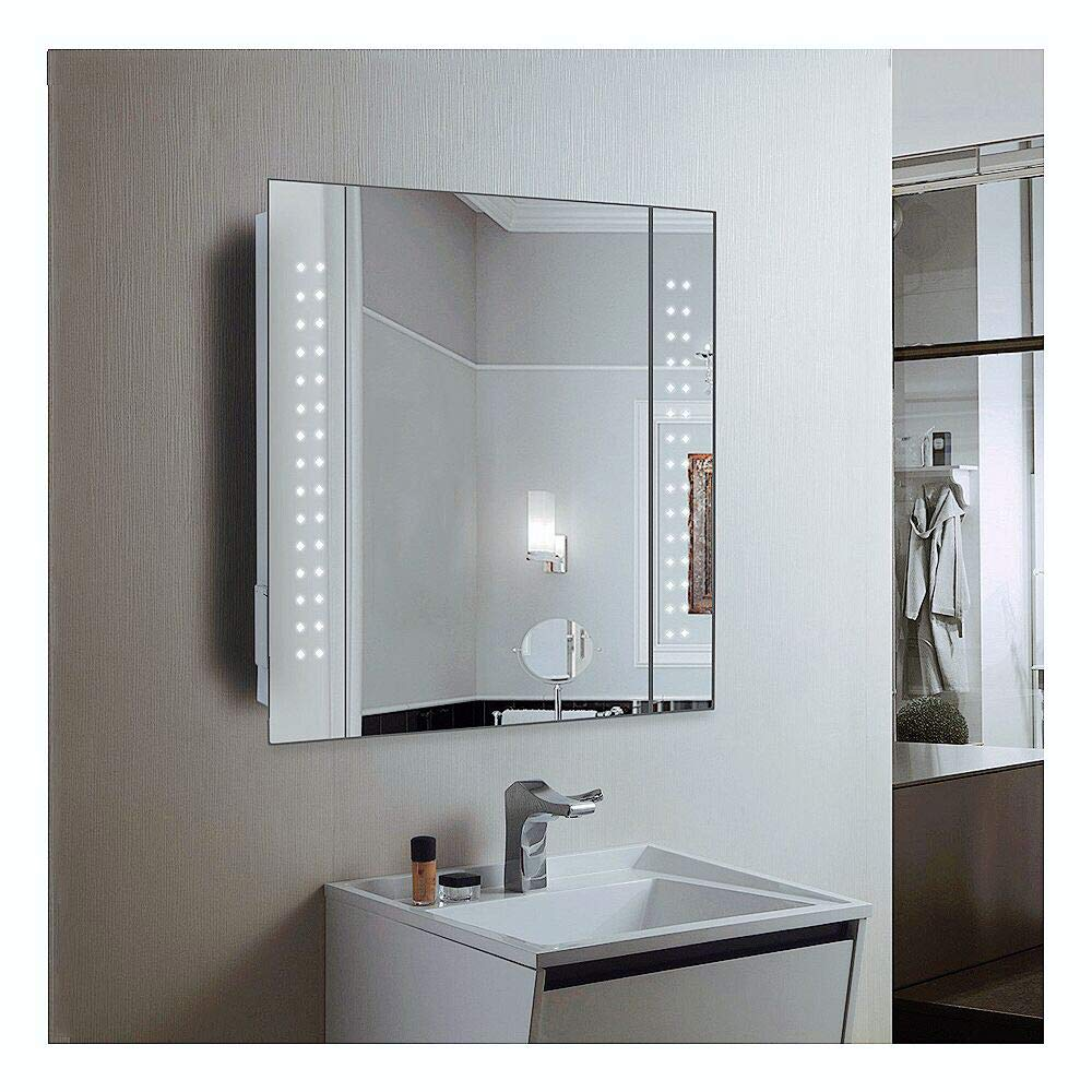 Anaelle Pandamoto Armoire de Toilette à MiroirEclairage Lumineux LED Intégré + 1 Porte sur Salle de Bain, Taile: 600 * 110 * 600mm, Poids: 15kg, Blanc