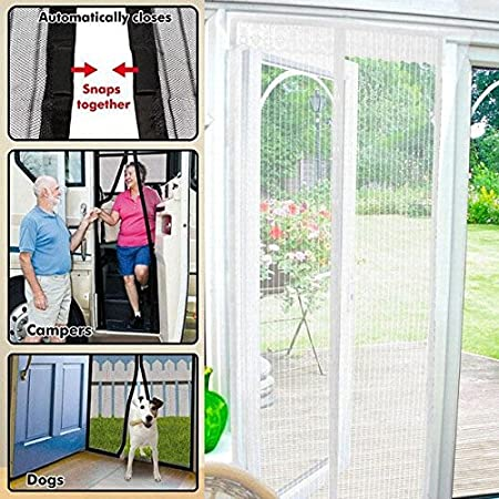 Top Home Solutions® Magnetic Flying Insect Magic Door Screen Curtain Mesh  (White)