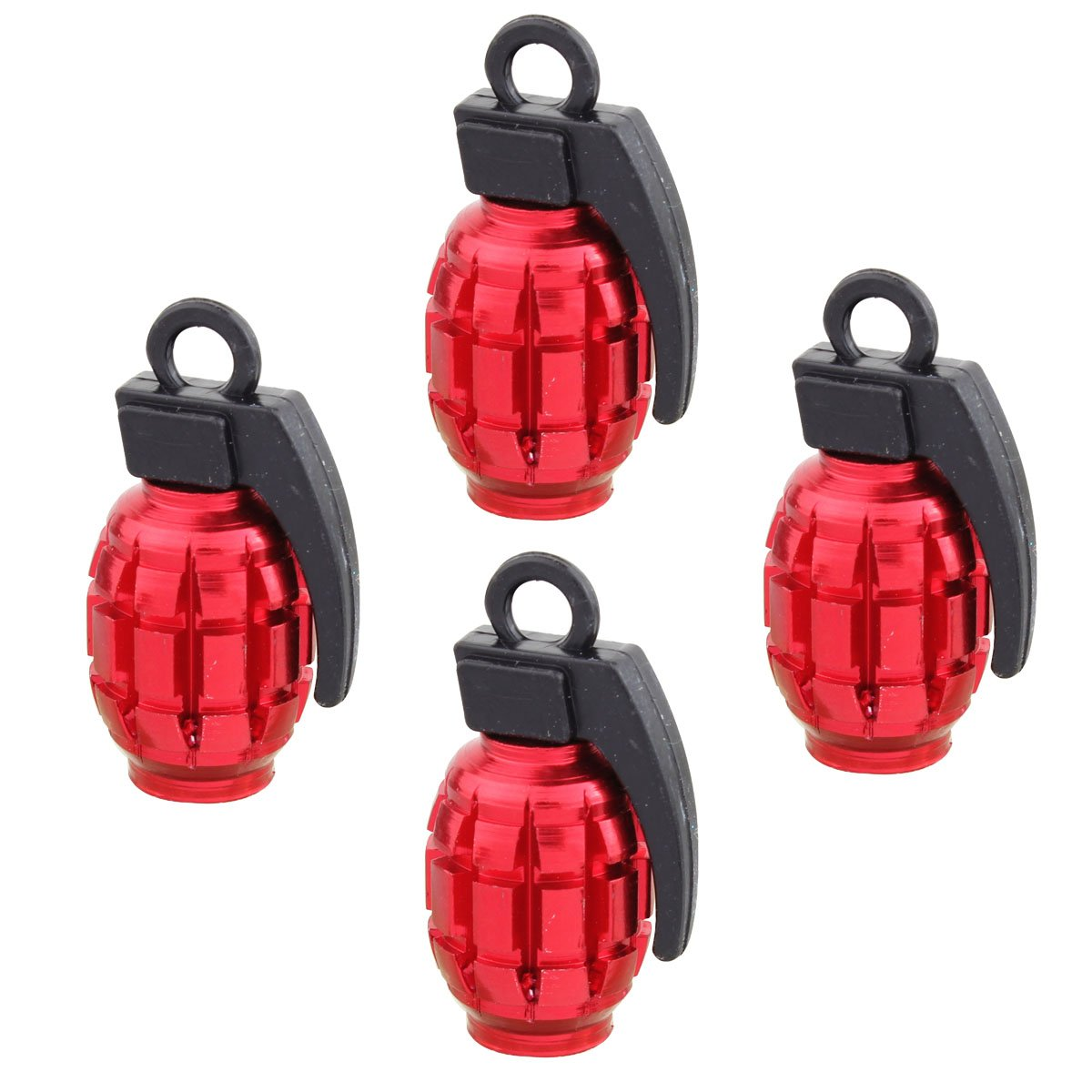 TOMALL Grenade Tire Valve Stem Caps Black + Red + Gray 3 Set by TOMALL (Image #4)