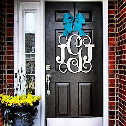 Custom Monogram Letter Wooden Door Hanger Wreath