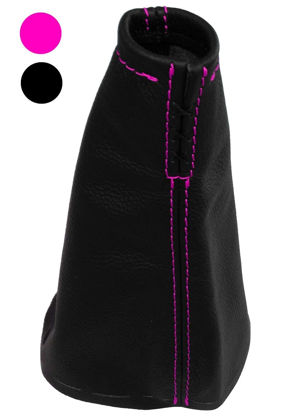 AERZETIX Cuffia leva cambio di 100/% vera pelle nera con cuciture rosa
