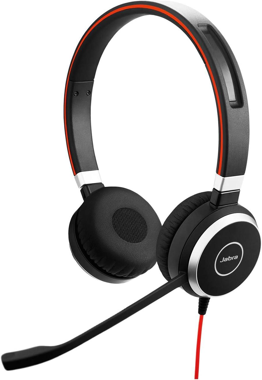 Jabra Evolve 40 UC - Auriculares Estéreo de Comunicaciones Unificadas para VoIP Softphone, Cancelación Pasiva de Ruido, Cable USB con Unidad de Control, Negro