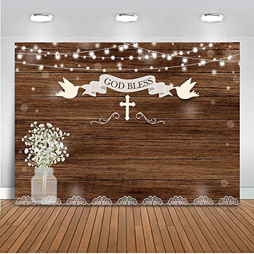 First Communion Decoration Ideas (Mocsicka Baptism Backdrop 7x5ft Rustic Wood First Holy Communion Photo Backdrops God Bless Mason Jars Christening Baby Shower Party Banner Photography)