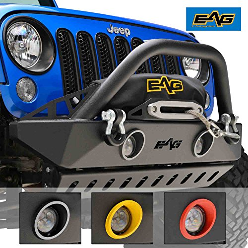 EAG 07-18 Jeep Wrangler JK Front Bumper Stubby With LED Lights, Colored Light Frames and Skid Plate