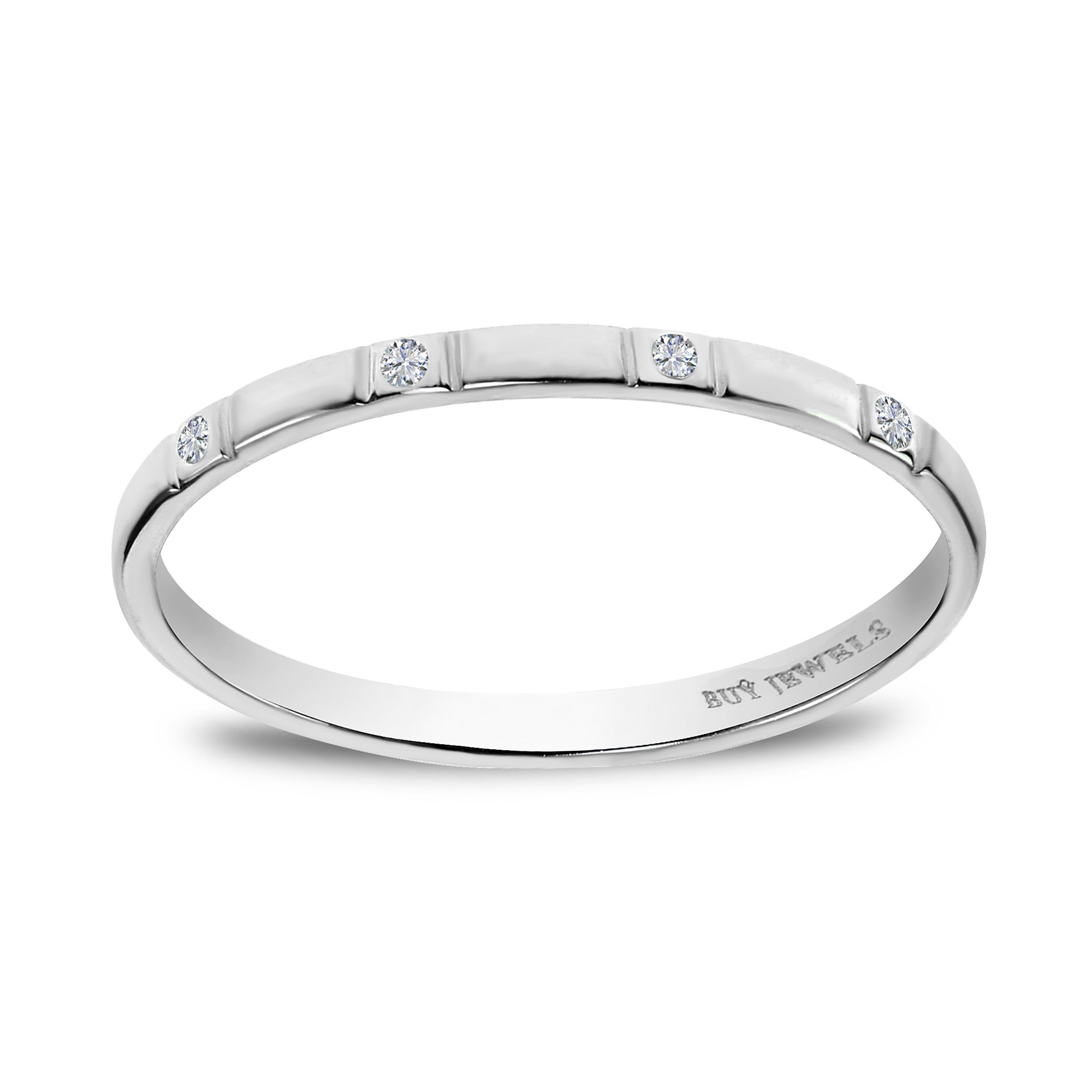 Buy Jewels 10k Gold and Diamond Stackable Dainty Promise Anniversary Ring for Women (white-gold, 4)