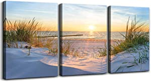 Wall Art For Living Room Wall Decor For Bedroom Poster Blue Sun Beach Grass Ocean Landscape Paintings Prints Artwork Bathroom Decorations Seascape Canvas Prints Hang Pictures Office Home Decor Works