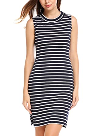 bb6f2a2802157 Locryz Women Casual Sleeveless O-Neck Striped Elastic Side Hem Split ...