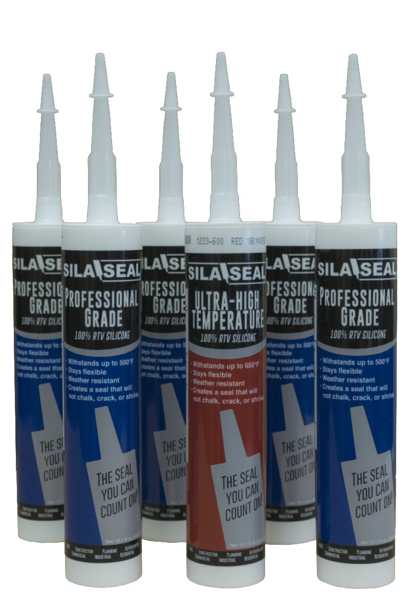SILA-SEAL 100% RTV Silicone Multi-Pack, (case of 6), 2 Clear, 1 White, 1 Black, 1 Aluminum and 1 Ultra High Temp Red