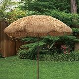 EasyGo - 6.5' Thatch Patio Tiki Umbrella - Tropical Palapa Raffia Tiki Hut Hawaiian Hula Beach Umbrella