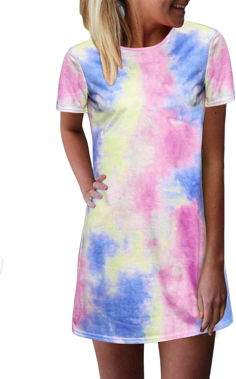 ZANZEA Women's Long Sleeve/Sleeveless T Shirt Dress Tie-dye Floral Print Tank Mini Dress