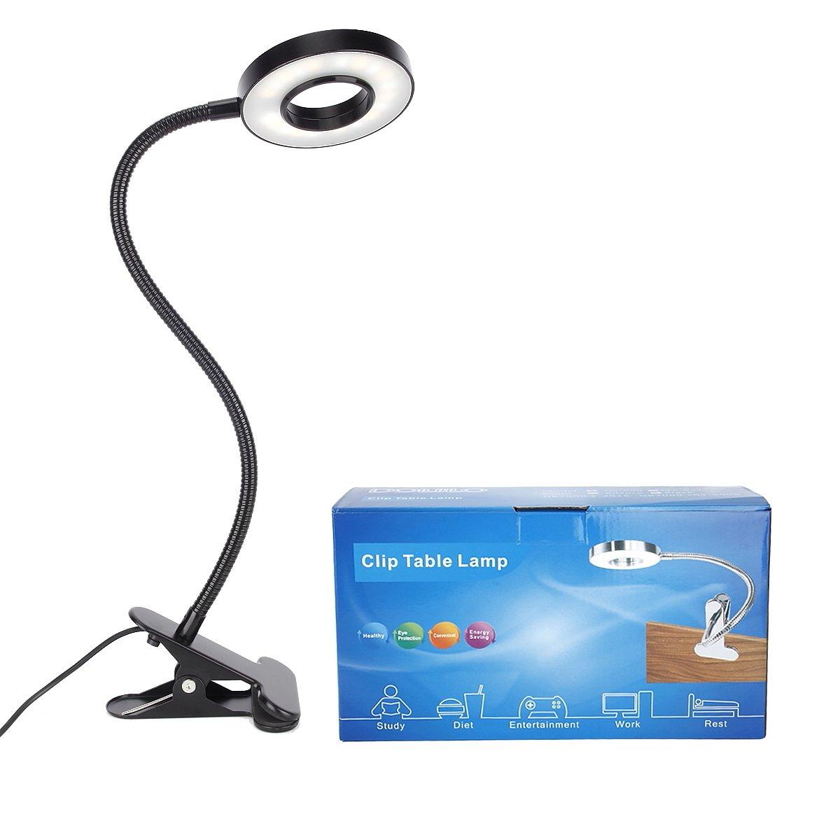Kernorv Clip on Light/Reading Lights, 5W LED USB Dimmable 5 Color Modes Clip on Light Adjustable Brightness Portable Bed Reading Light Clip Lights for Bed Desk Headboard by Kernorv (Image #9)