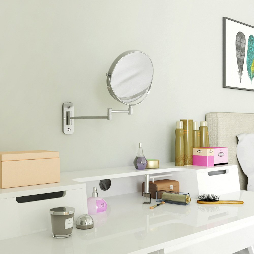 SONGMICS 8'' Two-Sided Wall Mount Makeup Mirror 360° Swivel Extendable 7x Cosmetic Mirror UBBM713 by SONGMICS (Image #7)