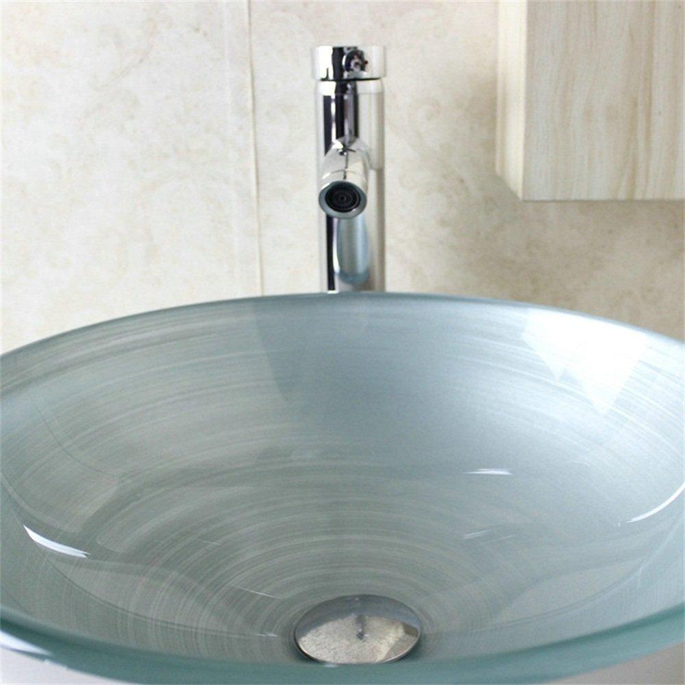 Sans Robinet /à poser la salle de bain,garantie de 2ans HomeLava Lavabo Vasque en Verre Tremp/é Bleu