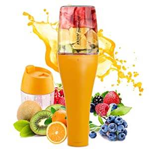 Portable Blender Juicer Cup with Travel Lid Single Serve Fruit Mixer USB Rechargeable for Shakes and Smoothies