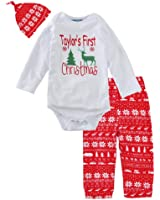 Christmas Baby Clothing Sets Infant Baby Girls Boys Romper Tops + Pants + Hat Long Sleeve Print Jumpsuits Outfit