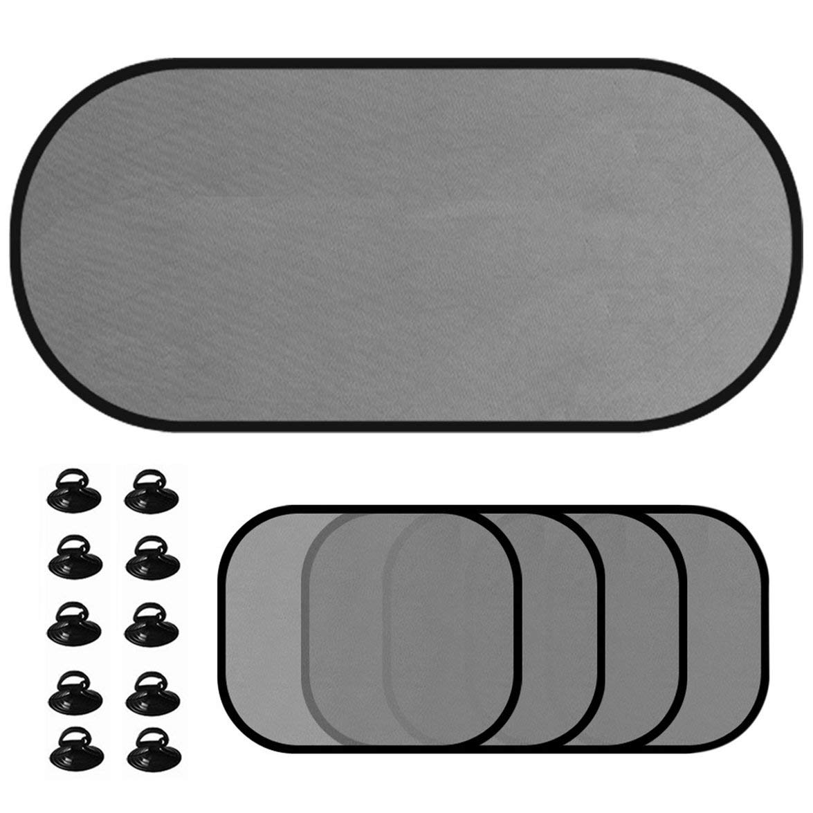 Kongqiabona 5pcs/Set Car Window Sunshade Mesh Auto Sun Visor Curtain with Suction Cup Front Rear Side Curtain Car Styling Covers Sunshade