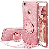 iPhone 6s Plus Case, Glitter Cute Phone Case Girls with Kickstand, Bling Diamond Rhinestone Bumper with Ring Stand Protective Sparkly Pink Apple iPhone 6 Plus, 6s Plus Case for Girl Women - Rose Gold