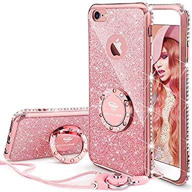 the best attitude 22299 b065f OCYCLONE iPhone 6S Plus Case for Girls, Glitter Cute Girly Case with Stand,  Bling Diamond Rhinestone with Ring Kickstand Sparkly Pink Girls Case for ...