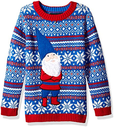 Boys' Big Ugly Christmas Crew Neck Sweater with Gnome On Front