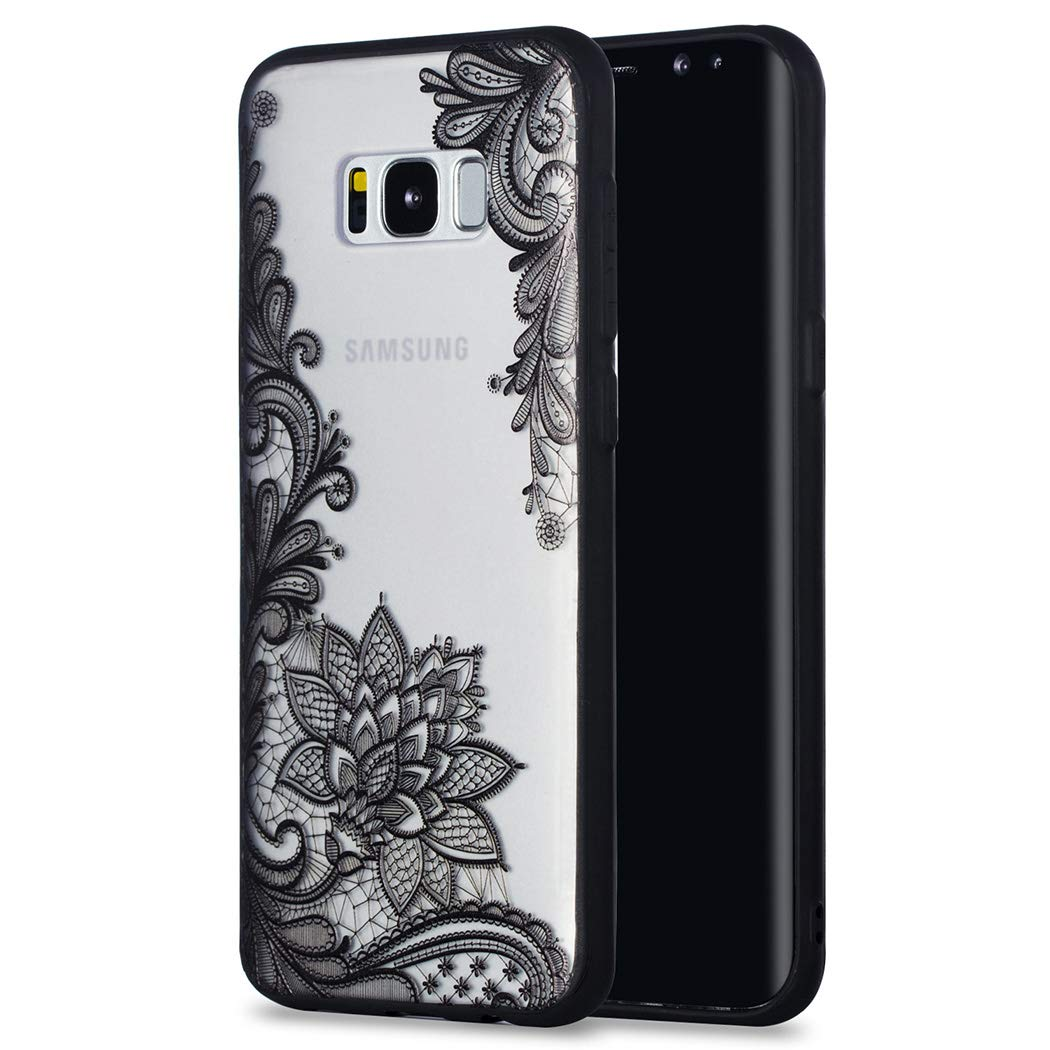 Rosa Cover per Samsung S8 Plus Silicone Trasparente Rigida Ultrasottile Custodia per Samsung S8 Plus in Hard PC Antiurto Protettiva Bumper Case Rosa Pizzo CoverTpu Cover per Samsung S8 Plus