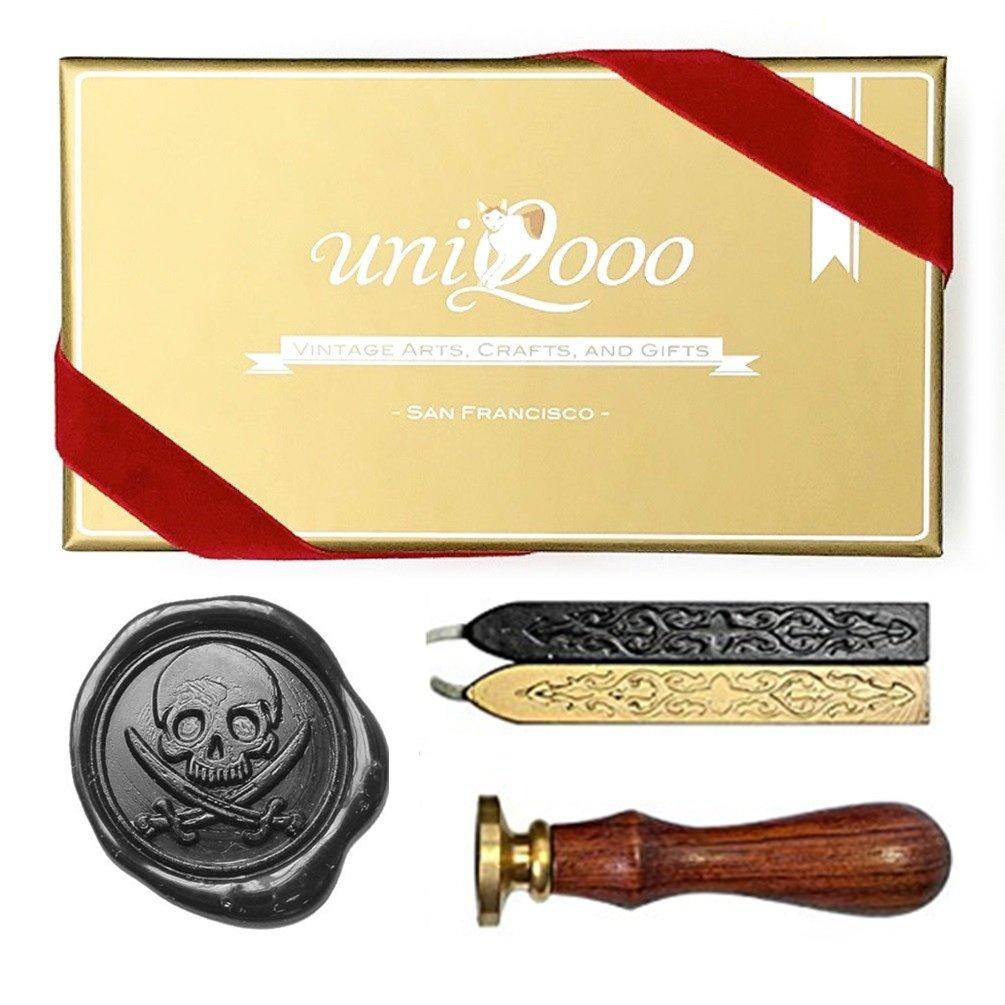 UNIQOOO Arts & Crafts Caribbean Pirate Wax Seal Stamp Gift Set JIUFAN