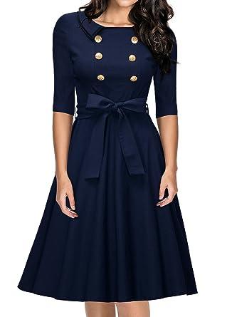 MIUSOL Womens Retro 3/4 Sleeve Belted Buttons Evening Dress,Navy Blue,Medium
