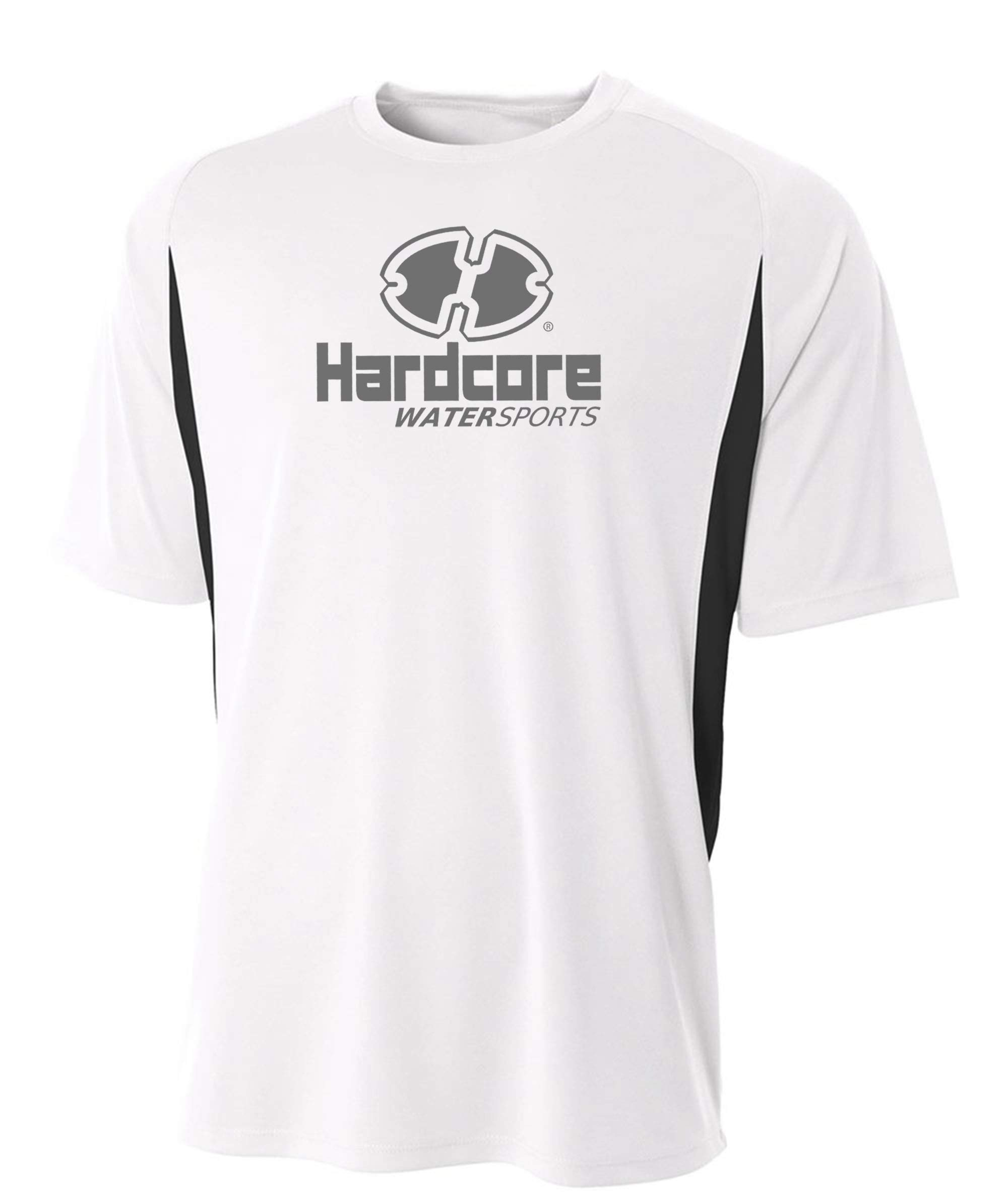 Mens Hardcore Loose Fit Rash Guard Swim Shirt with SPF Protection White/Black by Hardcore Water Sports