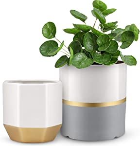 Flower Pots, BABIRO, 6.1/5.1 Inch White Ceramic Pots for Plants, Plant Pots with Drainage Holes, Planters Indoor Outdoor Plants with Gray and Gold Details for Garden, Home Decoration, Office