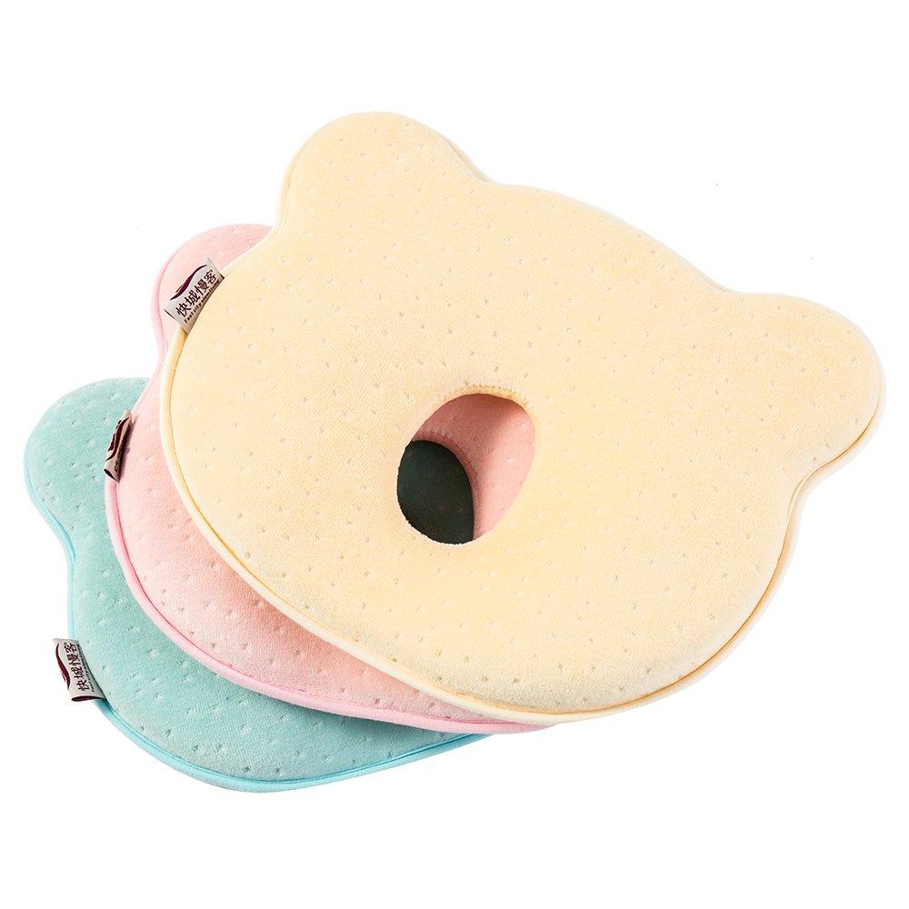 Comficent Almohada Beb/é Cojin Cuna para Plagiocefalia para Evita la Cabeza Plana Recien Nacido 0~18 Meses con Funda Lavable Rosa
