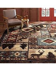 "Home Dynamix Buffalo Bear Rustic Area Rug, Brown/Red, 7'10""x10'5"""