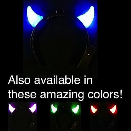 ef79c9628f Amazon.com   Light Up Mini Devil Horns With Steady On LED s - AC DC ...