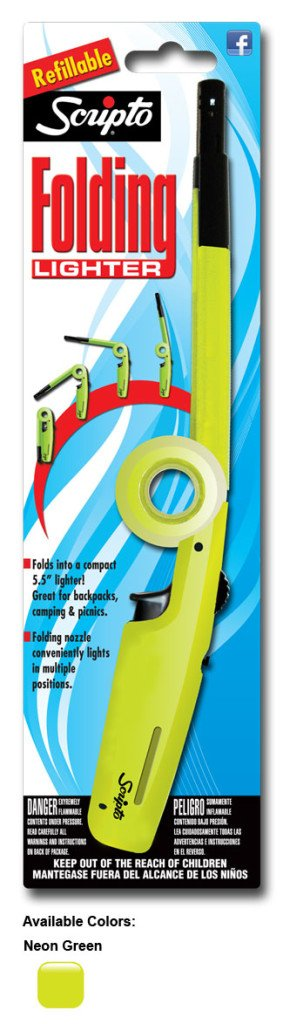Scripto Refillable Folding Lighter Safe for Camping/grilling/home, Adjustable Flame (Green) by Scripto B013S6U3WC