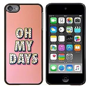 Oh My Días Broadway estrella de la música Peach- Metal de aluminio y de plástico duro Caja del teléfono - Negro - iPod Touch 6