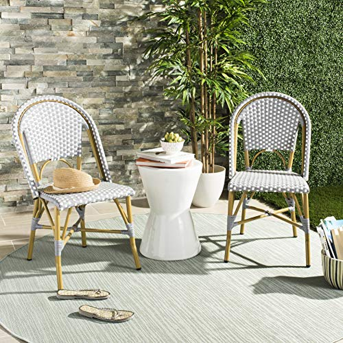 Safavieh FOX5210G-SET2 Collection Salcha Grey, White and Light Brown Indoor/Outdoor French Bistro Stacking Side Chair