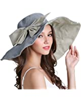 Bienvenu Women's Lady's Large Bowknot Wide Brim Reversible Beach Sun Hat