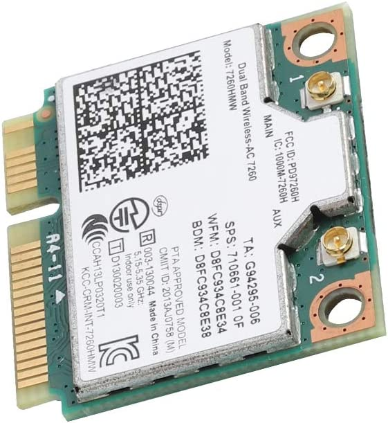 Tarjeta de Red Universal Mini WiFi Tarjeta inal/ámbrica PCI-E para Intel 7260AC Tarjeta inal/ámbrica Mini PCI-E WiFi Compatible con 802.11ac//a//b//g//n Heayzoki Tarjeta de Red Bluetooth 4.0