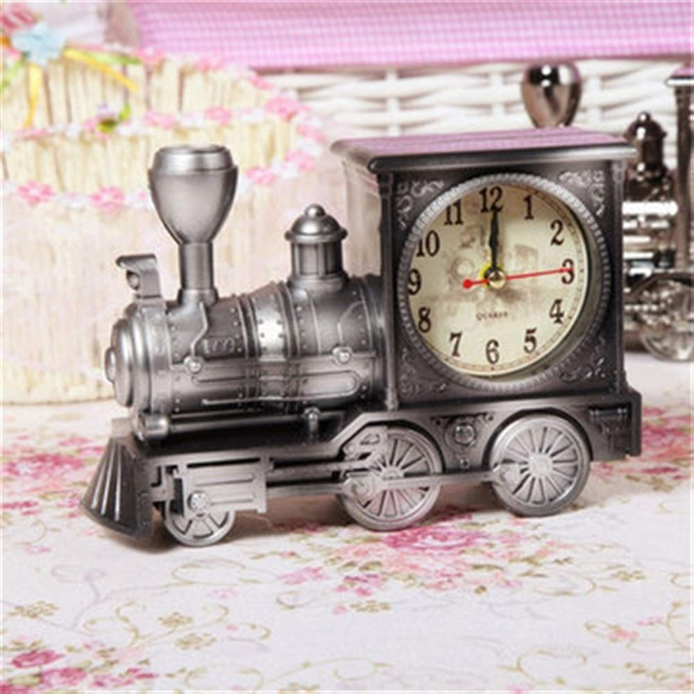Tuersuer Warm and Beautiful Retro Train Alarm Clock,Retro Train Style Alarm Clock Children Gift Table Desk Quartz Alarm Clock