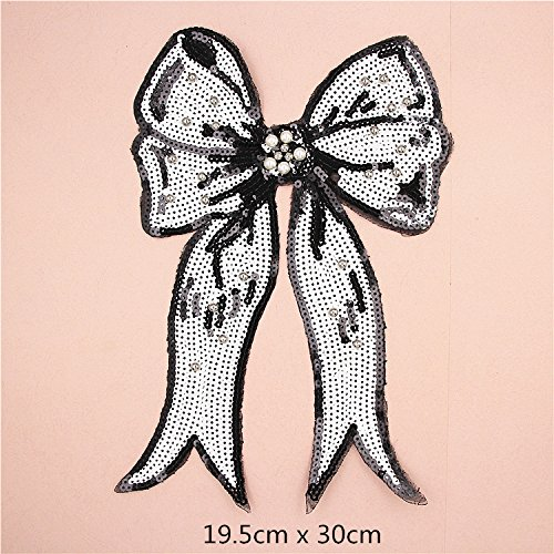 Autumn Water Large Bow Tie Sequin Beaded Embroidery Patches for Clothing Sew on Clothes T-Shirt Appliques Badge Stripe Sticker Accessories