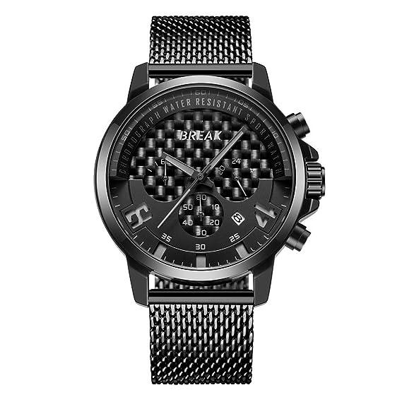 BREAK Calendario Cronografo Relojes Impermeable Unique Creative Reloj Deportivo de Cuarzo Geeks Negros Relojes para Hombre (Negro): Amazon.es: Relojes
