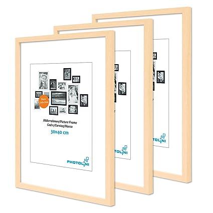 Cornici Per Poster.Photolini Set Da 3 Cornici Per Poster Da 30x40 Cm Modern Naturale In Mdf Con Vetro Acrilico Accessori Inclusi Collage Foto Galleria Fotografica