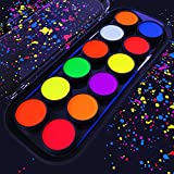ARTEZA UV Face & Body Paint Set of 12 Blacklight Reactive Colors, Fluorescent Pallet of Non-Toxic Washable UV Glowing pigments for Costumes, Parties, Theater, Special Effects and Festivals