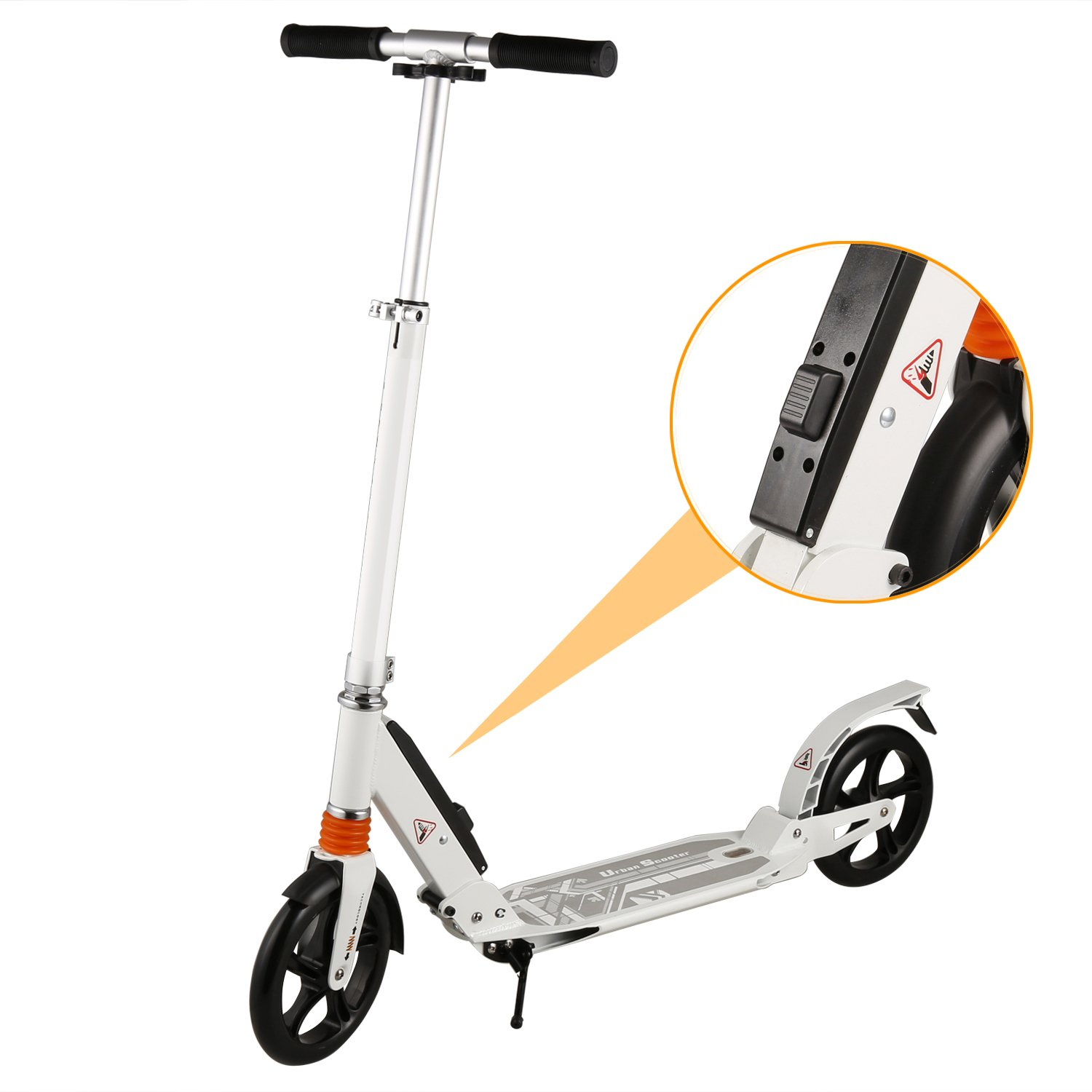 Yuebo Folding Adult Kick Scooter with Dual Suspension Shocks and 2 Big 200mm Wheels