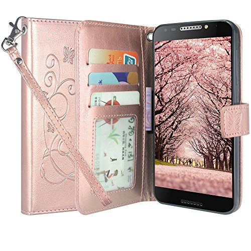 Alcatel A30 Fierce (2017) Case, Alcatel Revvl Case, Linkertech Floral Butterfly PU Leather Flip Wallet Case Cover Kickstand with Card Slots and Wrist Strap for Alcatel A30 Plus Walters (Rose Gold)