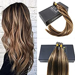 Sunny Brazilian I Tip Hair Extensions Human Hair Color #4 Brown Mixed Blonde #27 Remy Straight Stick Tip Hair Extensions 18 Inches 50gram Per Pack