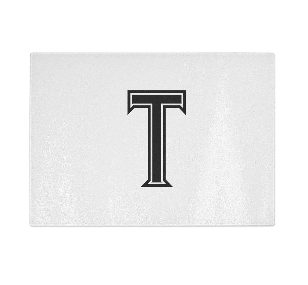 ''T '' College Font Initial Monogram Letter T Kitchen Bar Glass Cutting Board - 8 in x 11 in