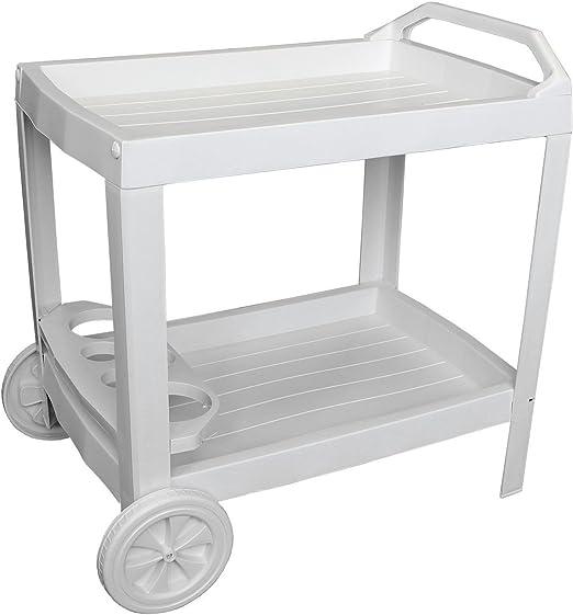 Camarera 2 niveles Blanco Carrito con ruedas Bebidas Carrito ...