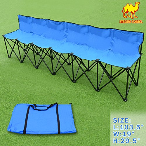 Strong Camel Portable 6 Seater Team Sports Sideline Bench Sits Outdoor Waterproof Folding Foldable (Blue)
